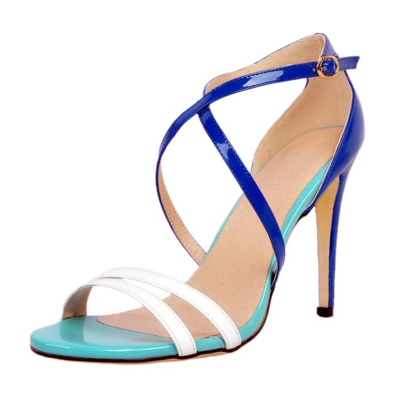 ФОТО Blue Green High Heels Women Sandals Cross Straps Ol Shoes Ladies Summer Style Stilettos Cover Heels Sexy Sandals Europe