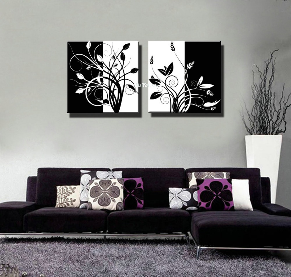 toile moderne en noir et blanc. Black Bedroom Furniture Sets. Home Design Ideas