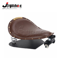 SOLO Leather Brass Seat Frame Cover Coil Spring Base Bracket For Harley Sportster Custom Honda Kawasaki Suzuki