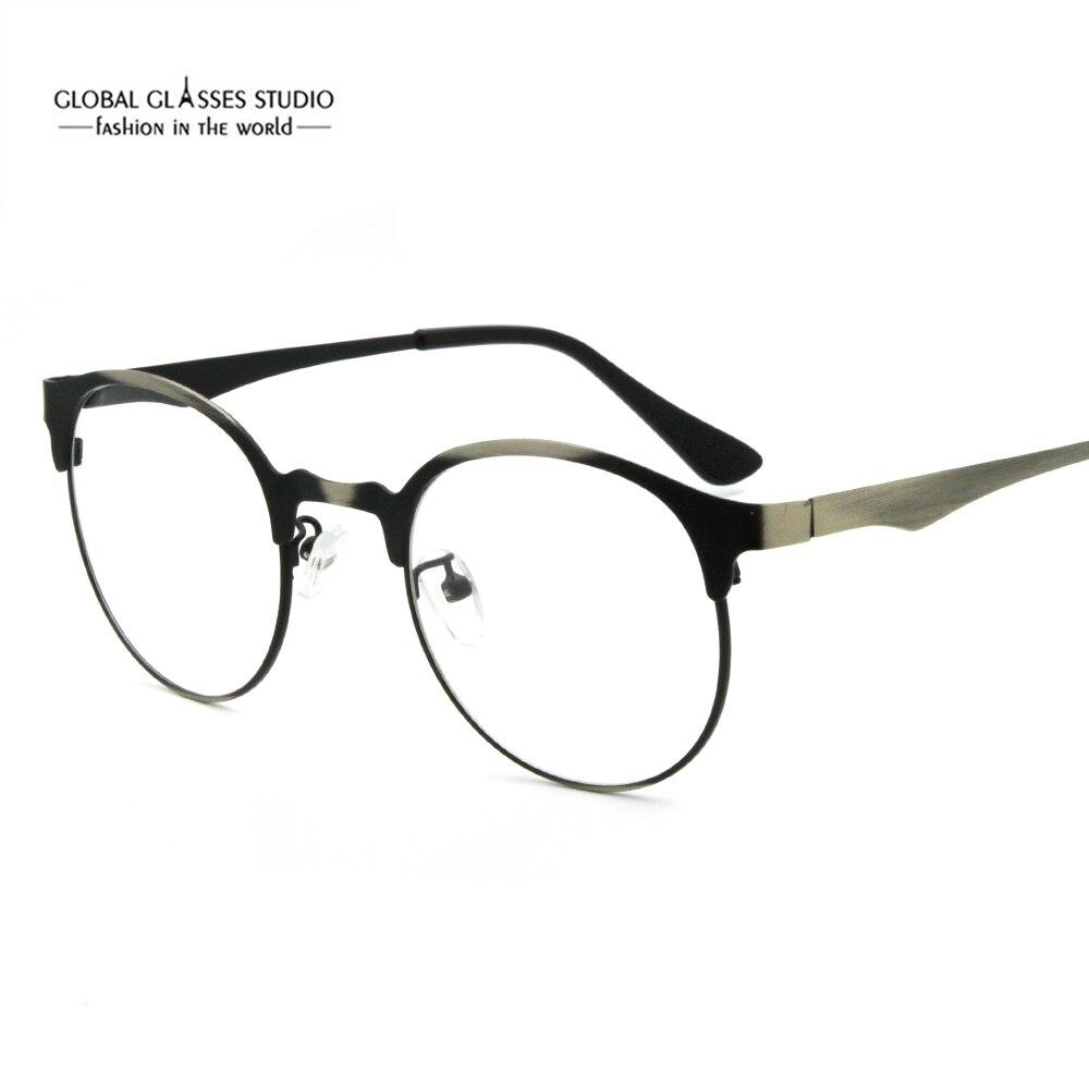 Бесплатная доставка Ретро Круглый Мужская Очки Рамки храм качество простой Стиль оптические очки RX объектив 9712