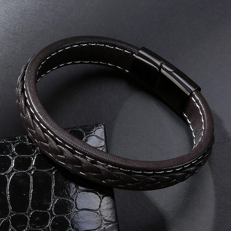 MOZO FASHION Pria Hitam Kulit Gelang Stainless Steel Magnetic Buckle - Perhiasan fashion - Foto 4