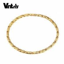 Vinterly Cadena de eslabones de acero inoxidable para hombre y mujer, Gargantilla, germanio, Energía para la salud, color dorado