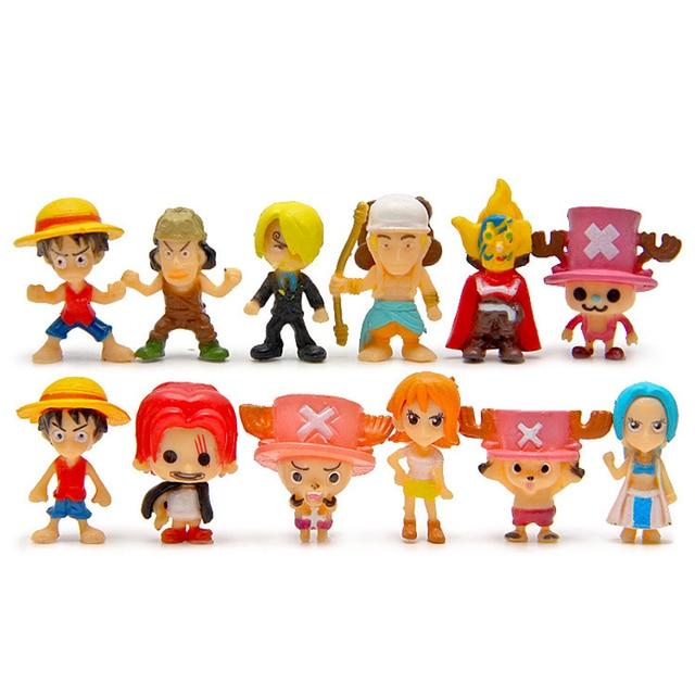 12pcs/lot Anime One Piece Cute Figure Luffy Zoro Sanji Usopp Franky Nami Robin Chopper PVC Action Figure Collectible Model Toy