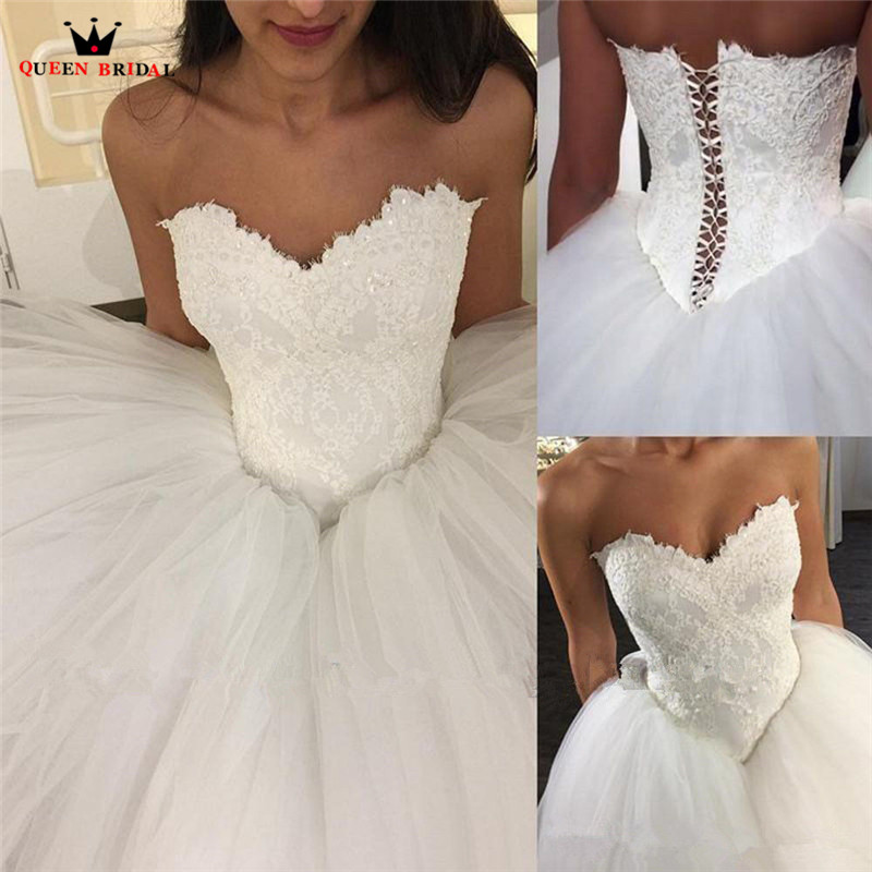 Custom Made Ball Gown Sweetheart Tulle Lace Fluffy Elegant Formal Wedding Dresses 2019 New Wedding Gown NY64
