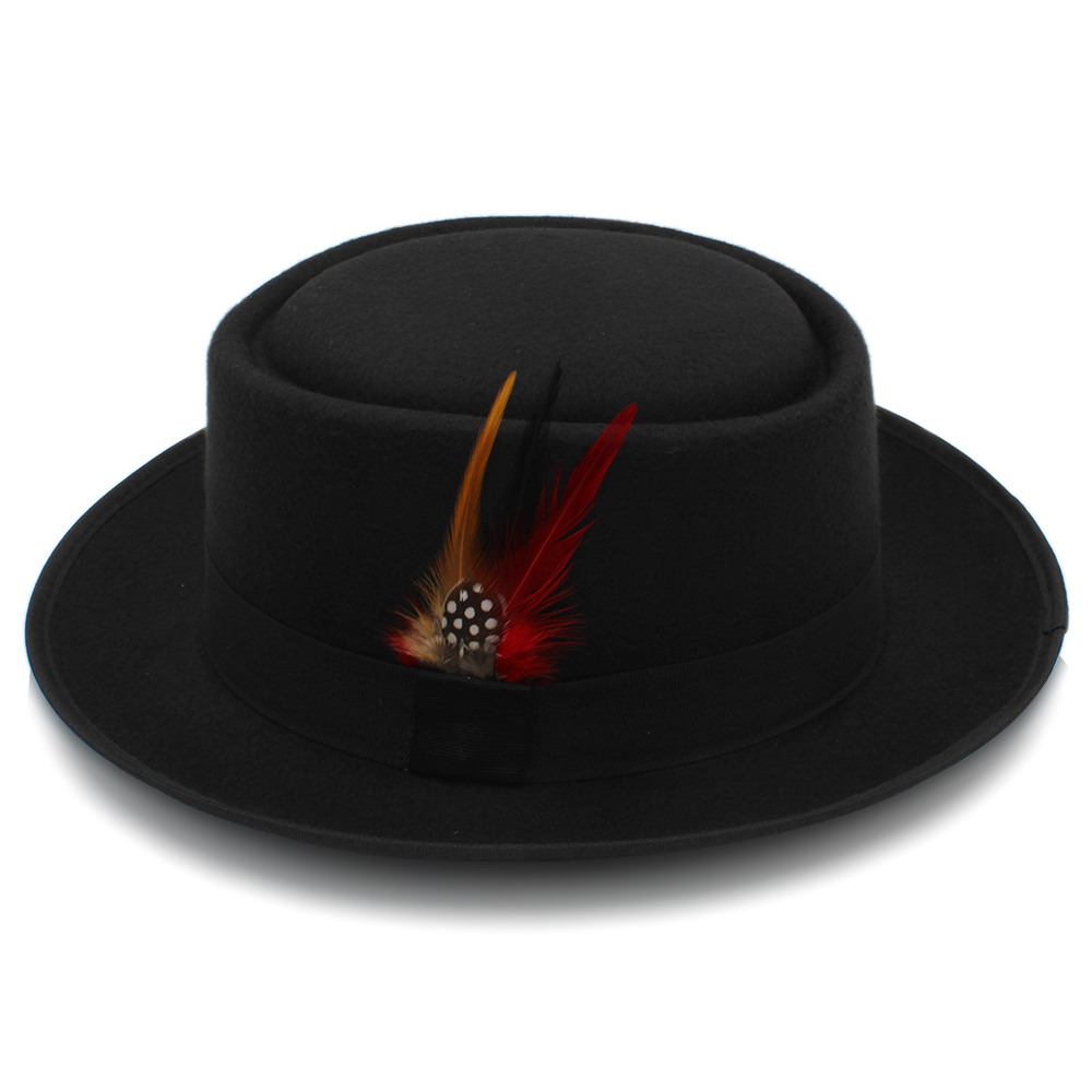 Fashion Women Men Pork Pie Hat Dad Wool Flat Fedora Hat Lady Gentleman Gambler Panama Trilby Hat With Fashion Feather Size 58CM 4