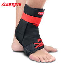 Kuangmi 1 Piece Ankle Support nakefit Sports Ankle Brace Sprained Guard Protector Foot Stabilizer Adjustable Bandage Basketball