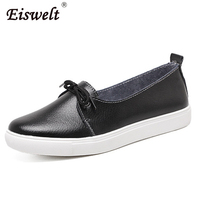 EISWELT Spring Lovely Solid Women Shoes Woman Causal Loafers Genuine Leather Women Flats Shoes 4 Colors