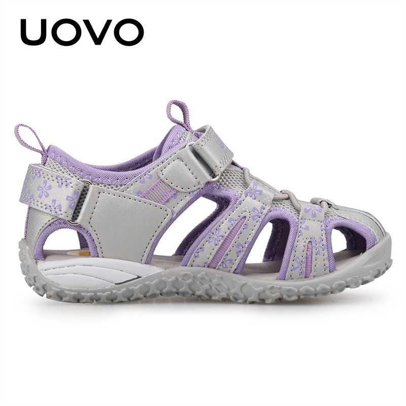 UOVO חדש הגעה 2020 קיץ חוף סנדלי ילדים סגור הבוהן פעוט סנדלי ילדי אופנה מעצב נעלי בנות #24 -38