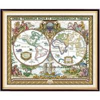 Карта старого мира пейзаж Счетный напечатанный на холсте DMC 11CT 14CT DIY наборы вышивки крестиком рукоделие Наборы handmad