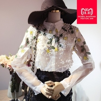 Wholesale Beading Embroidery Shirt 2017 new fashion Elegant sweet Pearl Blouse Long Sleeve turn down collar Casual Shirt w411