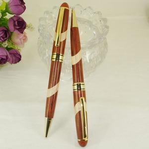 Image 2 - עט עץ שולחן במשרד קישוט עץ חריטת כדור עט ערכות ידידותית לסביבה בעבודת יד עץ קרפט אריזת מתנה סטים עט החסר מתנה