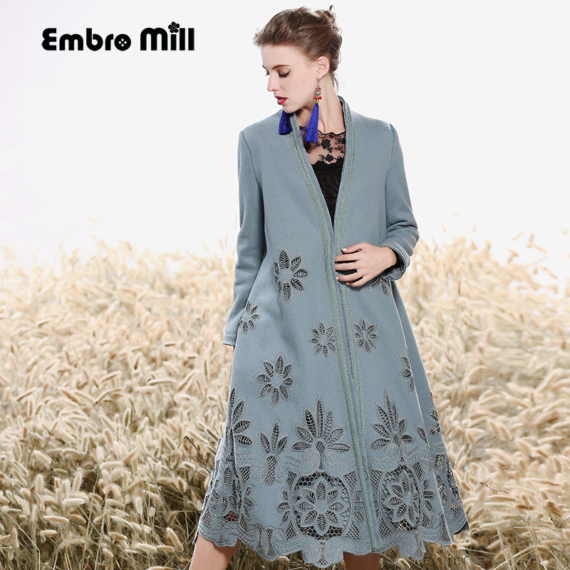 High-end Winter Trench Coats For Women Vintage Elegant Floral Wool Embroidery Loose Lady Blue Christmas Overcoat Female M-XXXL