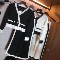 New Winter Casual Sweater Sets Womens Striped Knitted Two Piece Suits Wide Leg Pants Set Knitted Cardigan Tracksuits vestidos