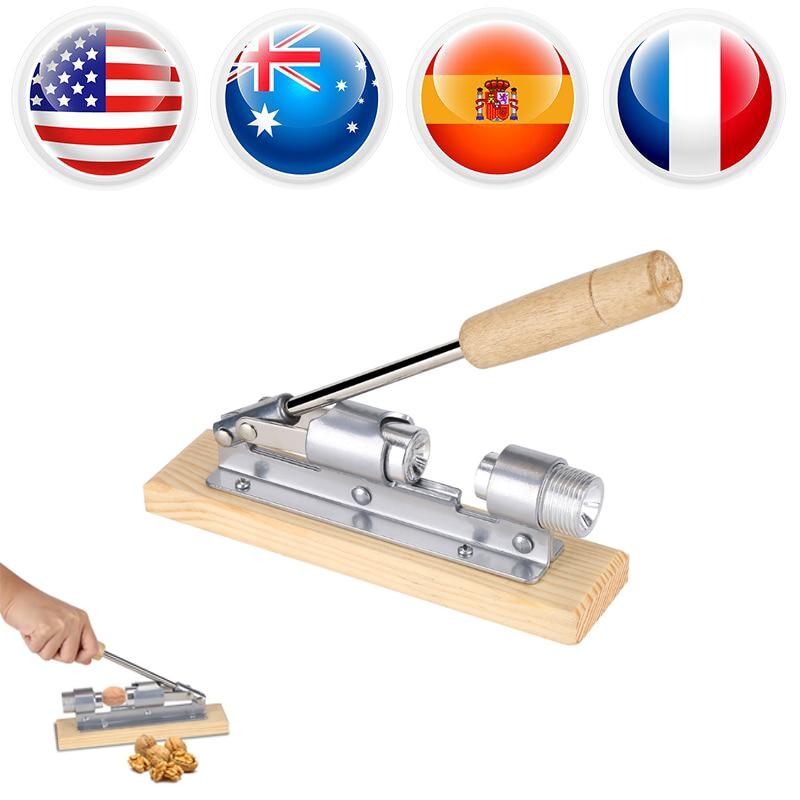 Walnut Cracker Mechanical Walnut Cracker Nut Opener Kitchen Tools Desktop Wood Base /& Handle
