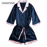Short Pants Short Sleeve Tops Pajamas Sets Silk Satin Nightwear Pink Blue Color Pyjamas Women Summer