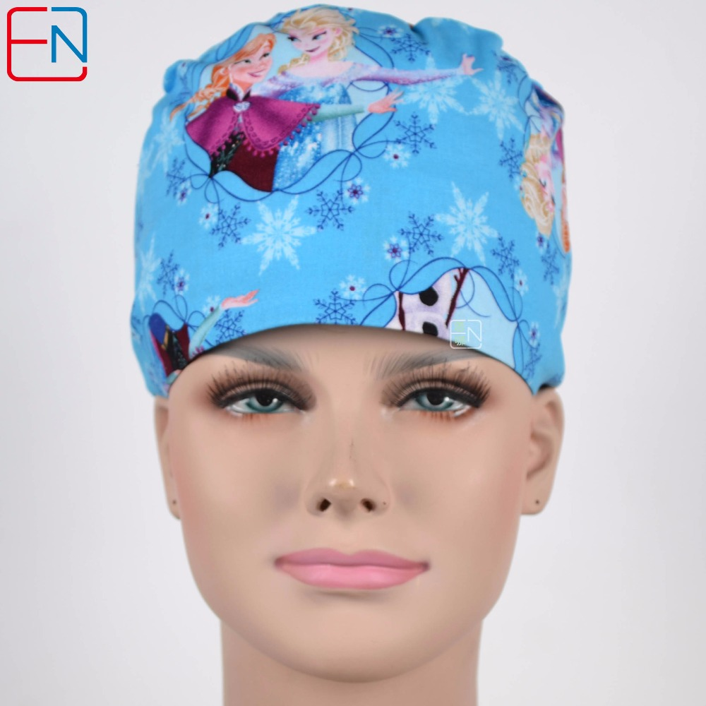 180413 Hennar Surgical Caps Printed Doctor Scrub Surgical Hats With Sweatband For Women Workwear 100% Cotton Scrub Surgical Caps