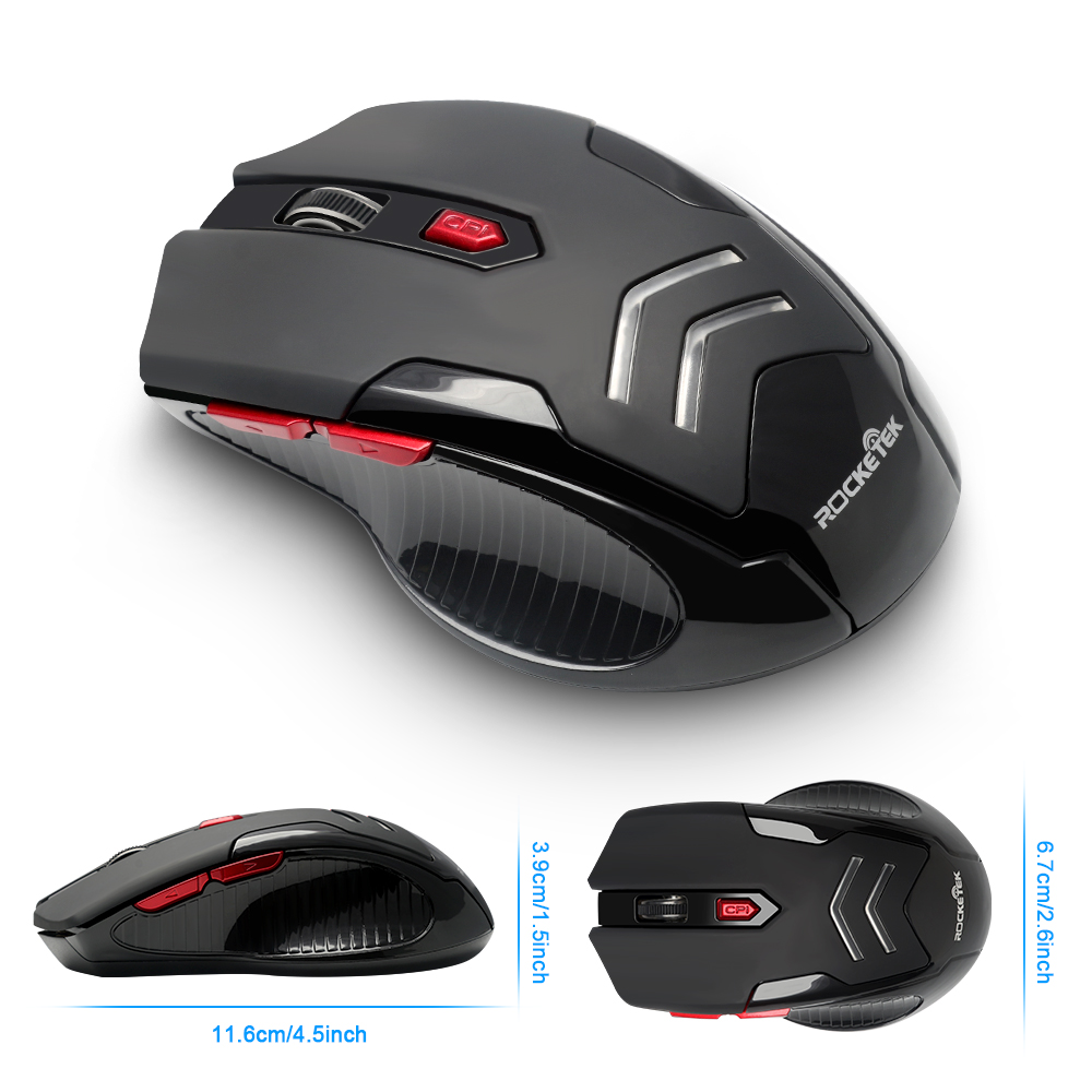 Image 3 - Rocketek USB Wireless Gaming Mouse 1600 DPI 6 buttons optical ergonomic for overwatch game laptop computer Mice-in Mice from Computer & Office