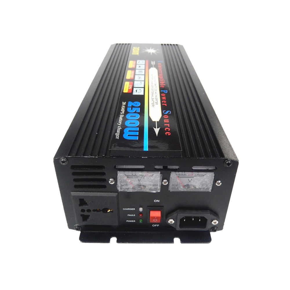 Modified Wave Power Inverter 2500W DC12V to AC220V +Charger & UPS,Quiet and Fast Charging mean well original mdr 100 12 12v 7 5a meanwell mdr 100 12v 90w single output industrial din rail power supply
