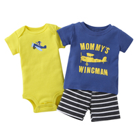 Top Quality 3PCS Baby Boy Rompers Summer Baby Clothing Set Cotton Baby Boy Jumpsuit Newborn Baby