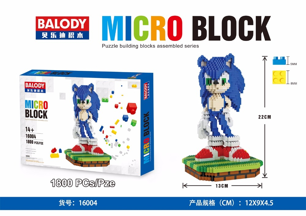 Balody Micro Blocks Big Size Mario DIY Building Toys Ice scrat Cute Sonic Auction Small figure Juguetes for Kids Toys 16004 loz super mario kids pencil case building blocks building bricks toys school utensil brinquedos juguetes menino jouet enfant