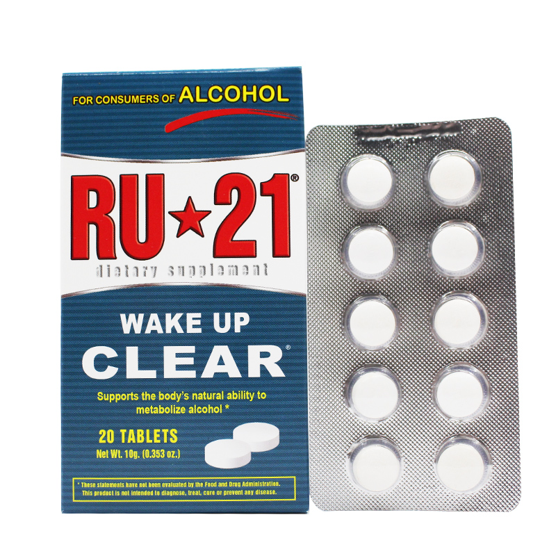 RU 21 wake up CLEAR supports the body's natural ability to metabolize alcohol 20 tablets ru