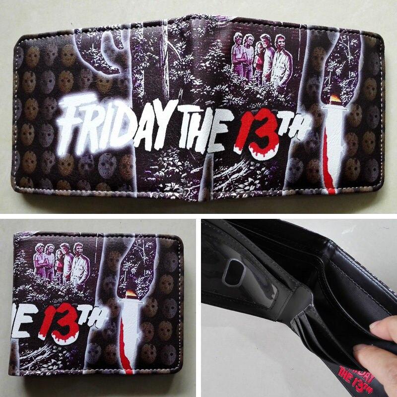 5c397ca9377 2018 Filme Friday the 13th Logotipo de Couro carteiras Bolsa de Multi-Cor  New Hot W171