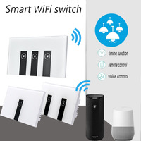 Wall Switch 90 250V Smart Wi Fi Switch Glass Panel 1gang 2gang 3gang US Touch Light