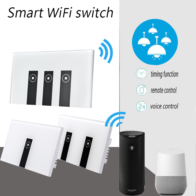 Work with Amazon Alexa Smart Wi-Fi Switch Glass Panel 1gang 2gang 3gang US Touch Light wall Switch 90~250V Ewelink App control work with amazon alexa google home 90 250v smart wi fi switch glass panel uk 3gang touch light wall switch ewelink app