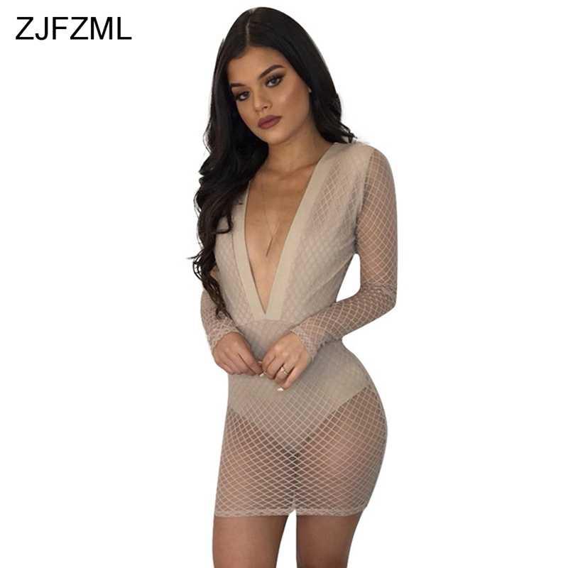 ZJFZML глубокий v-образный вырез на шее, сексуальный вечерние платье Для женщин серый длинный рукав клетчатое платье-футляр для 2018 Весна Черное Платье с открытой спиной прозрачная Vestidos