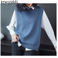 Spring Autumn Pullover Knitted Vest Sweaters Women Korean Casual Tops Loose Knit Sleeveless Jacket Coat For