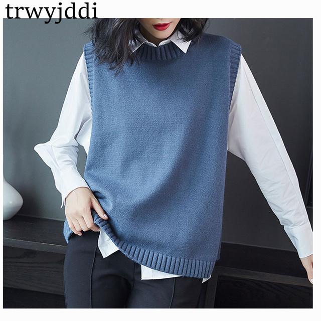 f54660f17da Spring Autumn Pullover Knitted Vest Sweaters Women Korean Casual Tops Loose  Knit Sleeveless Jacket Coat For