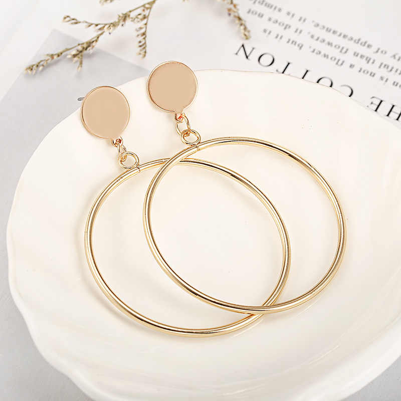 Golden Silver Color Hoop Earrings For Women Hollow Round Circle Statement Ear Jewelry Gift For Party Wedding Brincos
