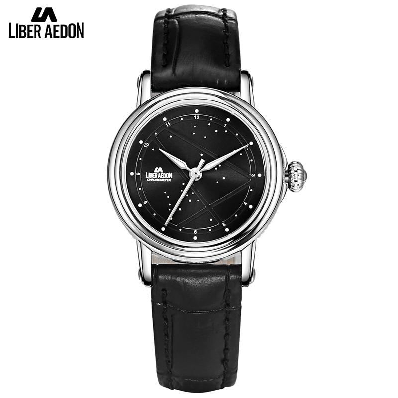 где купить Liber Aedon Black Leather Strap Women Watches Star Sky Design Quartz Elegant Suit Women Wrist Bracelet Watch Relogio Feminino по лучшей цене