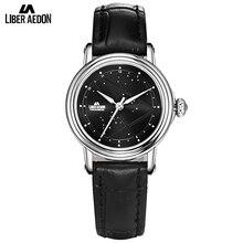 Liber Aedon Black Leather Strap Women Watches Star Sky Design Quartz Elegant Suit Women Wrist Bracelet Watch Relogio Feminino