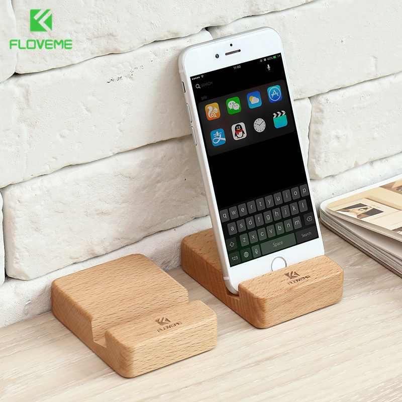 FLOVEME Portable Wooden Phone Holder for iPhone