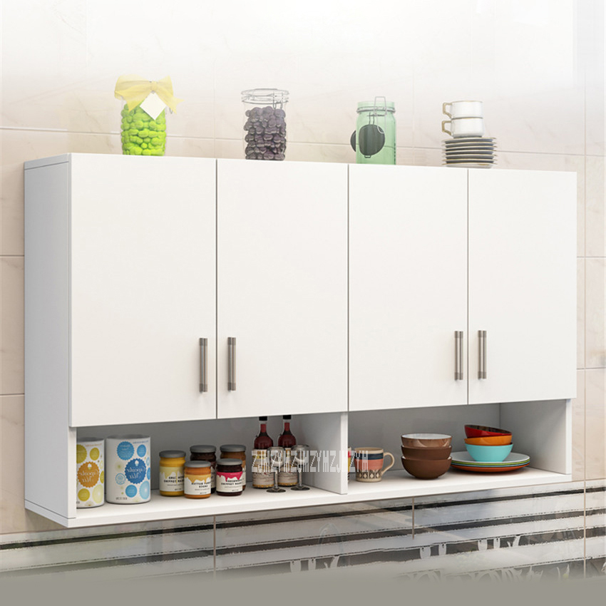 RY-003 Kitchen Wall Cabinet Bathroom Wall Hung Cabinet Kitchen Furniture Hanging Cabinet 4-Door Combination Add Bottom Cabinet