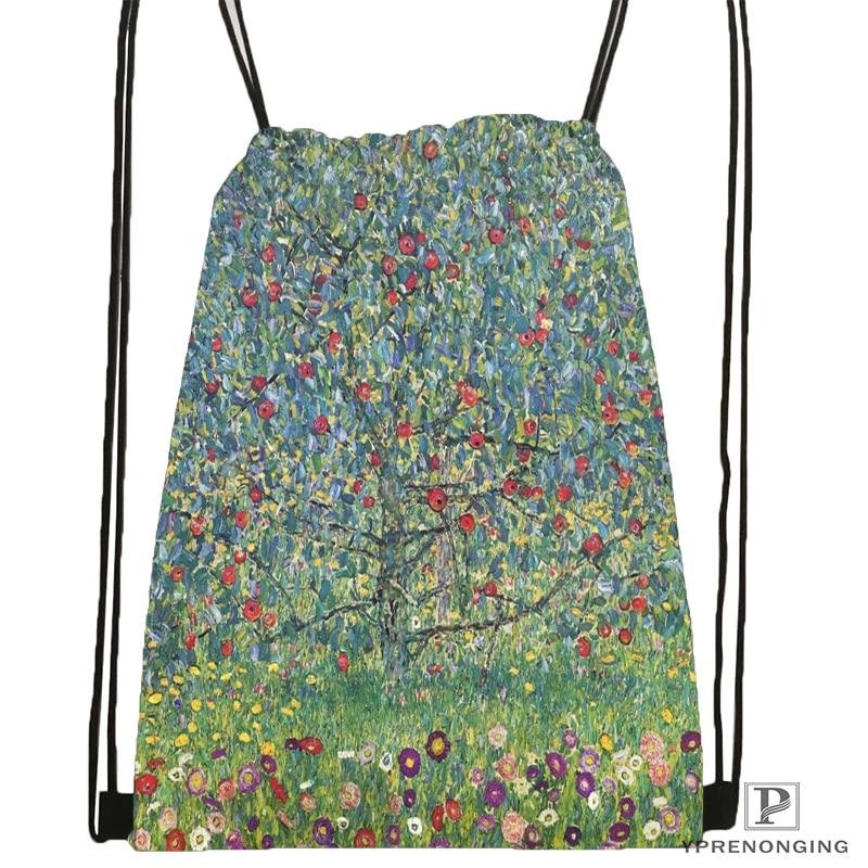 Custom Artist Gustav Klimt Drawstring Backpack Bag Cute Daypack Kids Satchel (Black Back) 31x40cm#180531-02-15