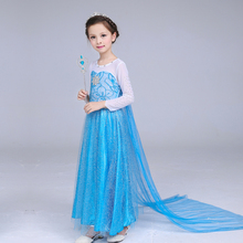 Elsa Blue Dress Aisha Princess Costume Christmas Clothing Halloween Costumes Party Supplies Girls Cosplay