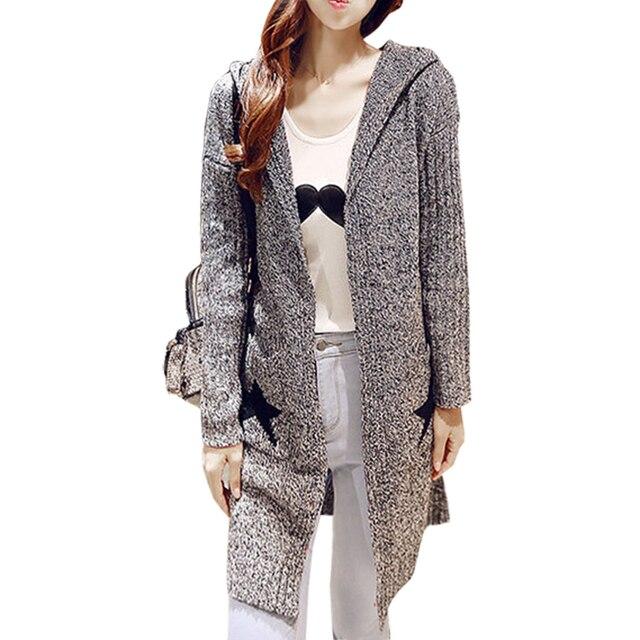 Jumper modelos coreanos tendencia Otoño Invierno cardigan mujeres sueltas  punto con capucha suéter ropa vestidos LXJ300 eb695b2aeac6
