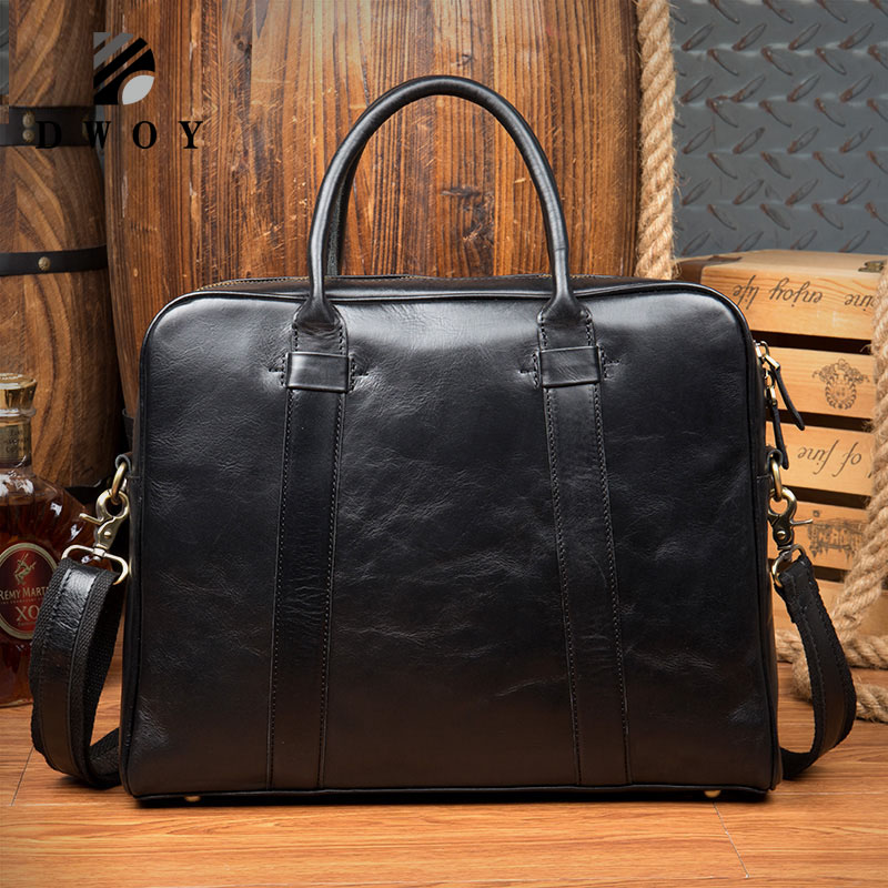 Business Briefcase Genuine Leather Men Bag Computer Laptop Handbag Man Shoulder Bag Messenger Bags Men's Travel Bags Black