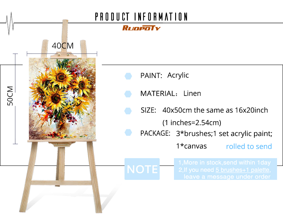 HTB1RU4UdOjQBKNjSZFnq6y DpXa4 RUOPOTY Frame Yellow Sunflower Diy Digital Painting By Number Acrylic Picture Modern Wall Art Hand Painted Oil Painting For Home