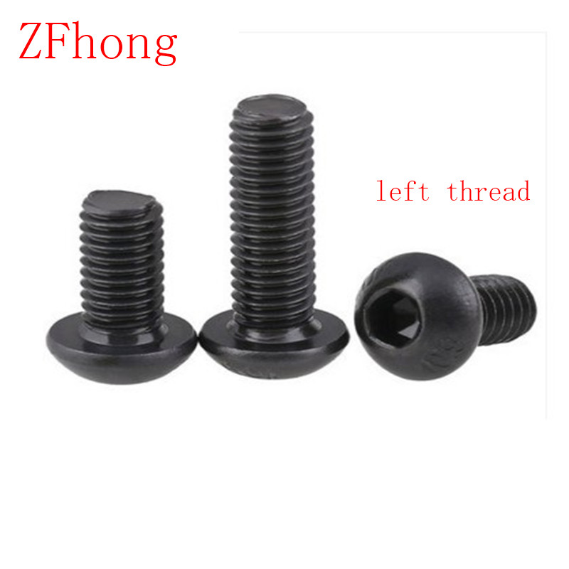 10pcs ISO7380 M5*10/12/16/20/25/30/35 Steel with black left thread button head hex socket screw  100pcs m4 6 8 10 12 16 20 25 30 35 40 45 50 steel with black phillips three parts pan head combination screw