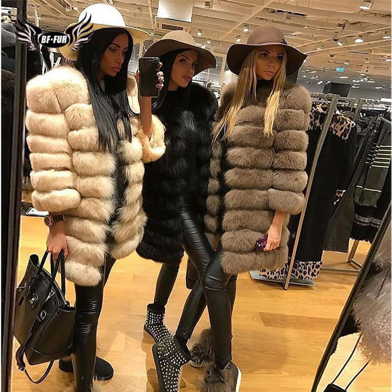 BFFUR Real Fox Fur Coat Is 90 Cm Thick Warm Genuine Fur Slim Capped Woman Clothing Winter 2018 Fashion Casual O-Neck Plus Size