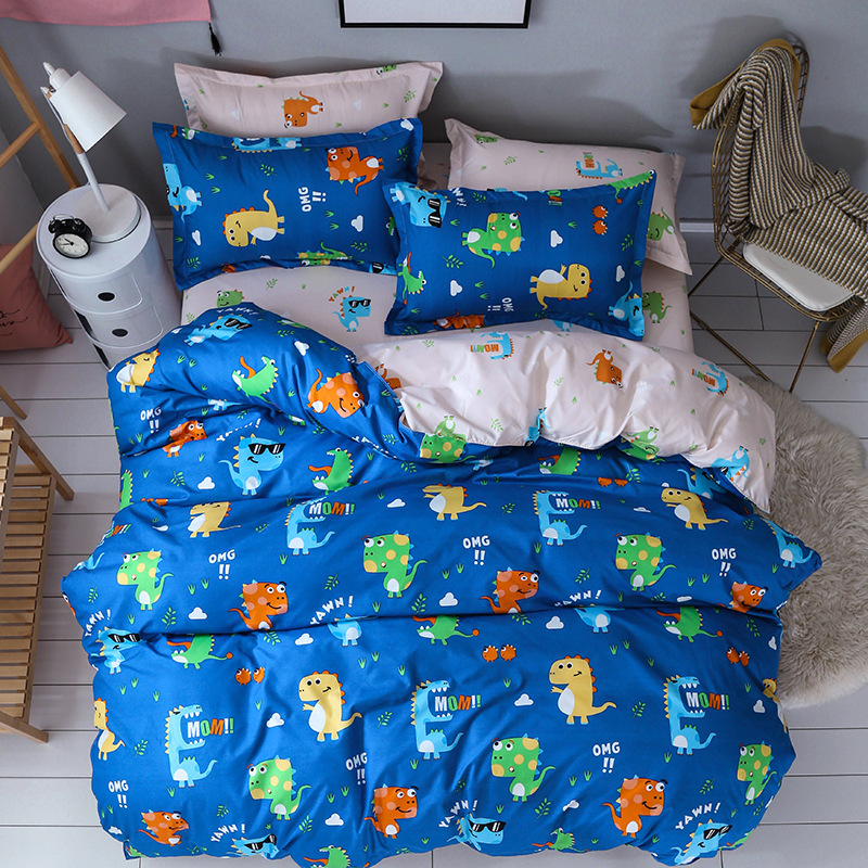 Bedding Set with Dinosaur Pattern 3pcs Family Set Include Bed Sheet Duvet Cover Pillowcase Queen King