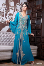 Blue Chiffon with Beading Long Sleeves Islamic Clothing For Women Dubai Kaftan Dress Muslim Evening Dresses Party Gowns Hot Sale