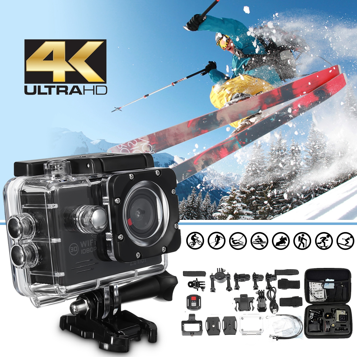 4 karat 2,0 LCD HD 1080 p 16MP Wasserdichte Wifi Sport Action Kamera Cam DV Digital Camcorder Lagerung Fall