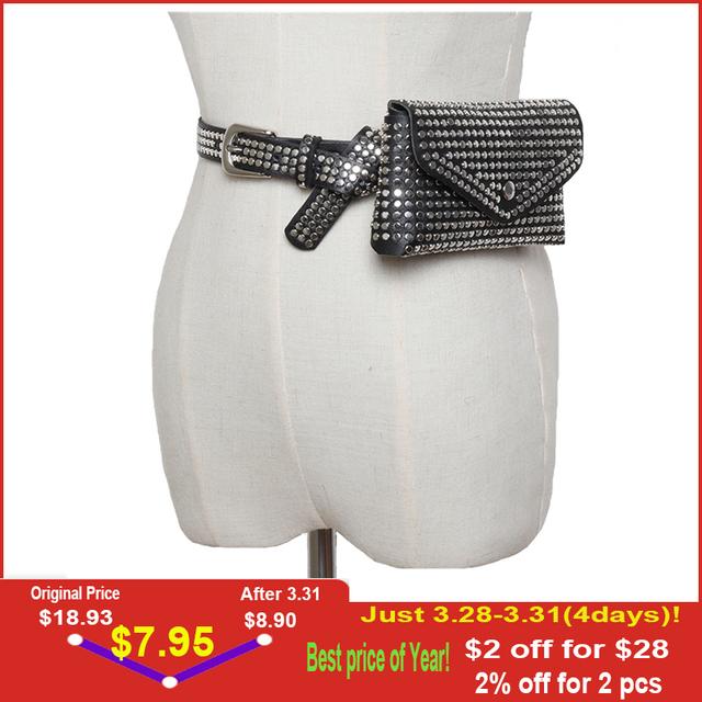 DIINOVIVO Fashion Rivets Waist Pack Luxury Designer Fanny Pack Small Women Waist Bag Phone Pouch Punk Belt Bag Purse WHDV0632