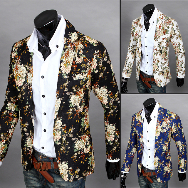 Korean casual men Printing suit dress floral color Fashionable young male hairdresser Slim Jacket Nightclub costumes clothing