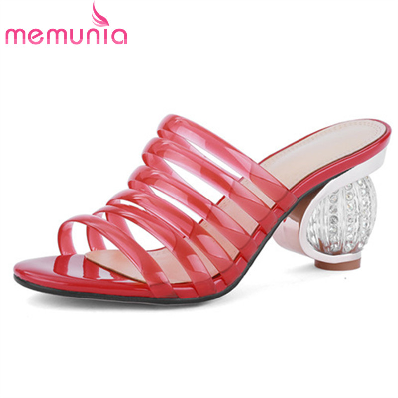 MEMUNIA 2019 newest style women sandals pvc Transparent summer shoes hollow out high heels ladies fashion