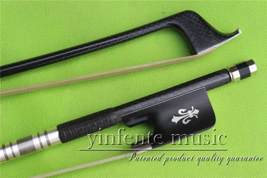 TG-0092#  1  pcs Cello Bow   Carbon fiber Round Stick Ebony f rog Flower Pattern 4/4 New  1 2 cello bow carbon fiber round stick ebony f rog high quality new 36